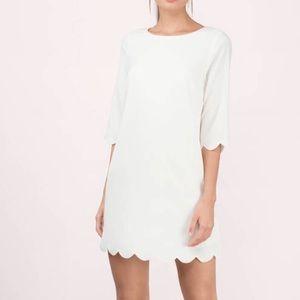 Tobi Scalloped Cream Shift Dress